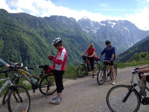 Cycling in Slovenia with view of the Slovene Alps